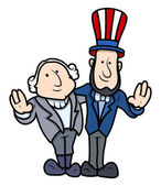 Drawing Art of Cartoon Abraham Lincoln and George Washington Character Standing Together and Gesturing Vector Illustration