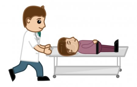Emergency Concept - Doctor Pushing Patent on Stretcher - Medical Cartoon Vector Character