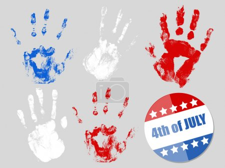 4th of July badge and hand prints set - Patriotic USA theme Vector