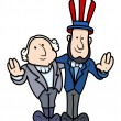 Постер, плакат: Washington and Lincoln Vector Cartoons on Presidents Day Celebration