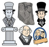 Drawing Art of USA Presidents George Washington & Abraham Lincoln Clip-Art Cartoon Vector