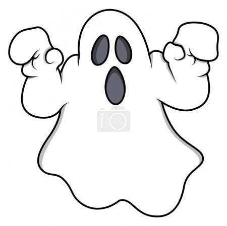 Cartoon ghost - Halloween vector illustration