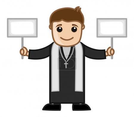 Illustration pour Caricature Eglise catholique prêtre caractère montrant deux panneaux de bannière vierges Illustration vectorielle - image libre de droit