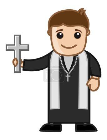 Illustration pour Caricature catholique prêtre caractère montrant Sainte Croix signe vectoriel Illustration - image libre de droit