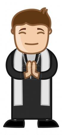 Illustration pour Dessin animé prêtre catholique Prier dans l'église Illustration vectorielle - image libre de droit