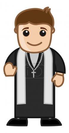 Illustration pour Dessin animé Heureux prêtre catholique chrétien Portrait vectoriel de bénédiction - image libre de droit