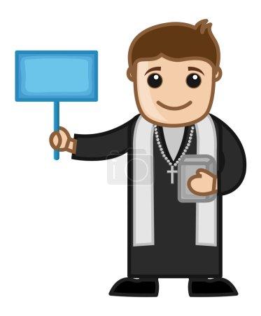 Illustration pour Caricature Christian Priest Personnage tenant une planche d'annonce vierge Illustration vectorielle - image libre de droit