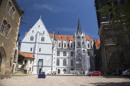 Detail of the cathedral of Meissen castle courtyard Albrechtsburg