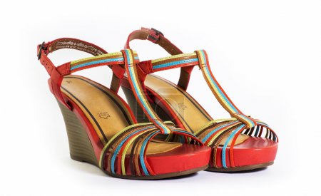Female summer sandals on a white background