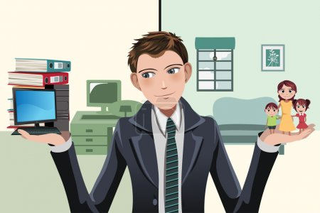 Illustration for A vector illustration of a businessman having to decide between work and family - Royalty Free Image