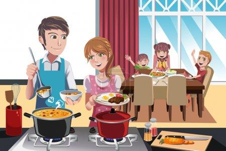 Illustration pour Une illustration vectorielle de la famille se préparant pour le dîner - image libre de droit