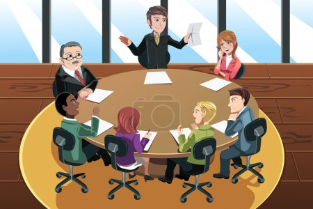 Illustration for A vector illustration of a business in a meeting in the office - Royalty Free Image