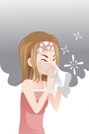 Illustration pour Illustration vectorielle d'une femme ayant un rhume - image libre de droit