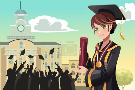 Illustration for A vector illustration of a graduation girl holding her diploma with her friends in the background - Royalty Free Image