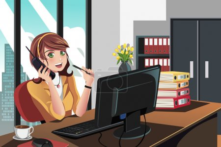 Illustration for A vector illustration of a businesswoman working in the office - Royalty Free Image