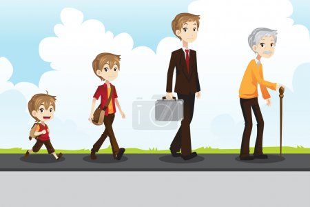 Illustration for A vector illustration of a different stage of life of a man from young to old - Royalty Free Image