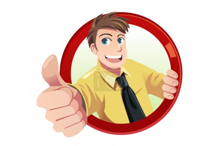 Illustration for A vector illustration of a businessman with his thumbs up - Royalty Free Image
