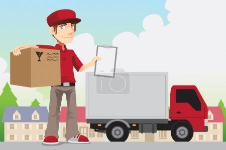 Illustration pour Une illustration de vecteur d'un livreur, livrer un paquet - image libre de droit