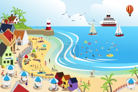 Illustration for A vector illustration of a view of a beach town from above - Royalty Free Image