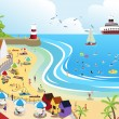 A vector illustration of a view of a beach town fr...
