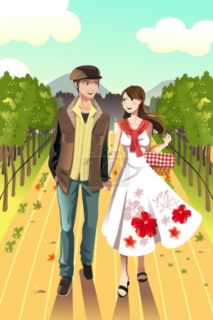 Illustration for A vector illustration of a young couple walking in a winery - Royalty Free Image