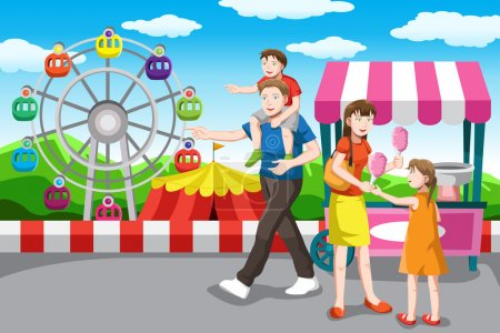 Illustration for A vector illustration of a happy family recreation in the amusement park - Royalty Free Image