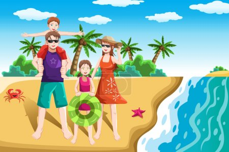 Illustration for A vector illustration of a happy family going to the beach for vacation - Royalty Free Image
