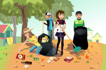 Illustration for A vector illustration of kids volunteering by cleaning up the park - Royalty Free Image