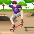 A vector illustration of a happy kid playing skate...