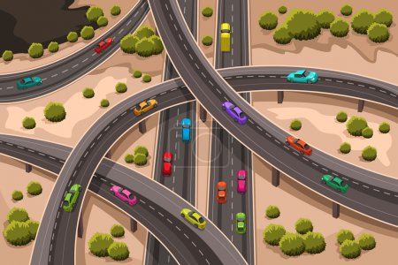 Illustration for A vector illustration of highway viewed from above - Royalty Free Image
