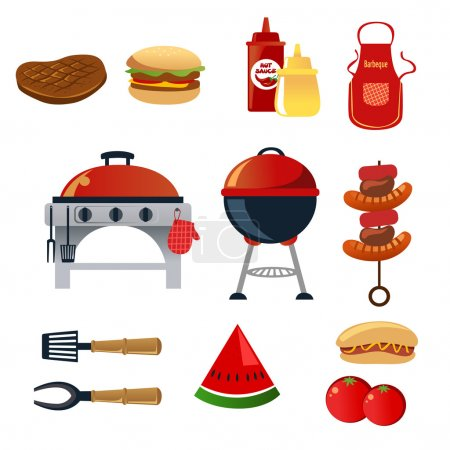 Illustration for A vector illustration of barbeque icon sets - Royalty Free Image
