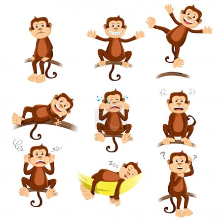 Illustration for A vector illustration of monkey with different expression - Royalty Free Image