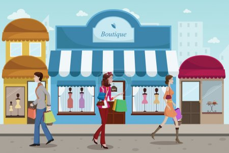 shopping in an outdoor mall with French boutique style