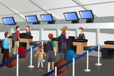 Lining up at the check-in counter in the airport