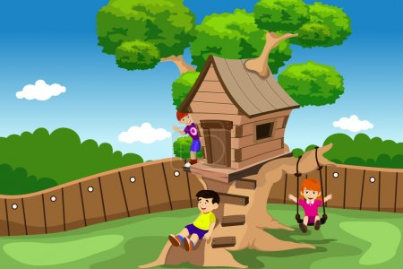Kids playing in a tree house