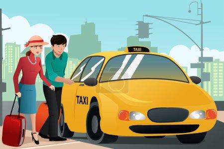 Illustration pour Illustration vectorielle d'un couple de touristes appelant un taxi - image libre de droit