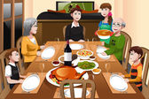 A vector illustration of happy family having a Thanksgiving dinner together