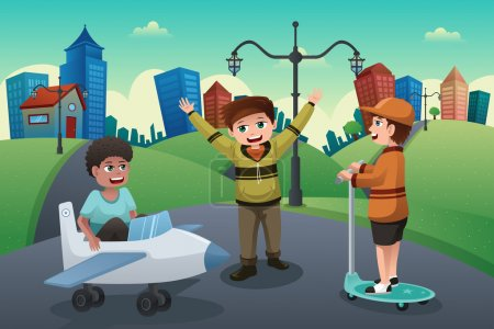 Illustration for A vector illustration of happy kids playing in the street of a suburban neighborhood - Royalty Free Image