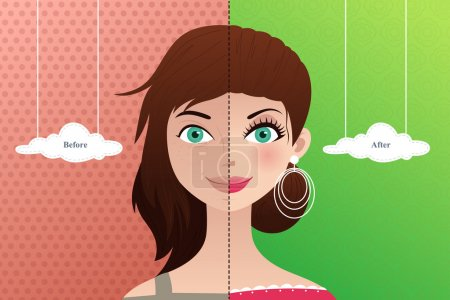 Illustration for A vector illustration of a beautiful woman before and after makeup - Royalty Free Image