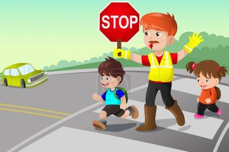 Illustration pour Illustration vectorielle de flagger et d'enfants traversant la rue - image libre de droit