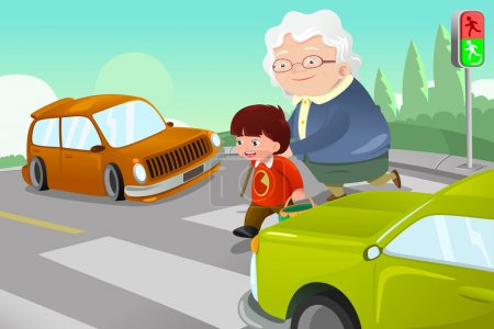 Illustration for A vector illustration of kid helping senior lady crossing the street - Royalty Free Image
