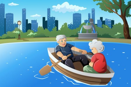 Illustration for A vector illustration of happy senior couple rowing a boat on lake - Royalty Free Image