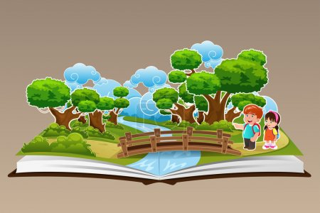 Illustration for A vector illustration of pop up book with a forest theme - Royalty Free Image