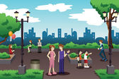 A vector illustration of people in a city park doing everyday stuff