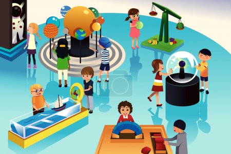 Photo for A vector illustration of kids on a trip to a science center - Royalty Free Image