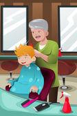 Kid getting a haircut