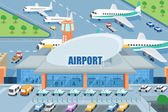 A vector illustration of airport on the outside