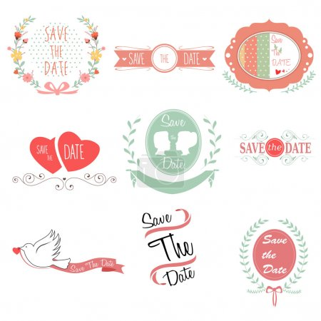 Illustration for A vector illustration of save the date for wedding design - Royalty Free Image