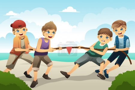 Illustration for A vector illustration of cute boys playing tug of war - Royalty Free Image