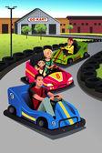 Family playing go-kart